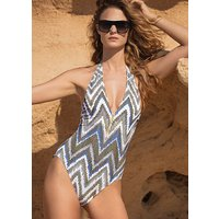 Click to view product details and reviews for Gottex Couture Golden Sand V Neck Halter Swimsuit.
