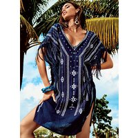 Click to view product details and reviews for Iconique Caspian Navy Embroidered Kaftan.