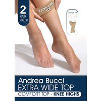 Andrea Bucci Extra Wide Comfort Top Sheer Knee Highs 2pp