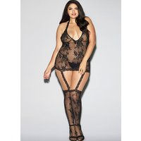 Dreamgirl Halter Black Lace Dress with Garters and Stockings Queen Size