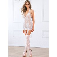 Dreamgirl Halter White Lace Dress with Garters and Stockings