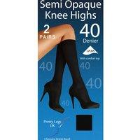 Pretty Legs 40 Denier Opaque Knee Highs 2 Pair Pack