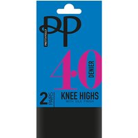 Pretty Polly 40 Denier Knee Highs With Silk Finish (2PP)