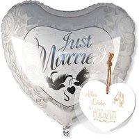 Riesenballon Just Married und Vintage-Herz Alles Liebe zur Hochzeit