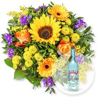 Sommerbote und Blaue Glasflasche Happy Birthday mit LED