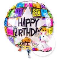 Singender Ballon Happy Birthday Faces und Plüsch-Einhorn