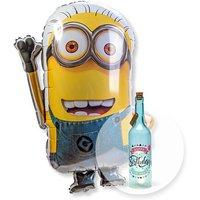 Ballon Minion und Blaue Glasflasche Happy Birthday mit LED