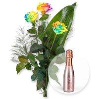 3 Regenbogen-Rosen und Bottega Rose Vino Spumante Brut