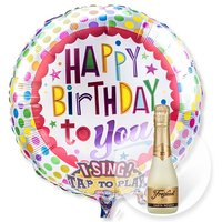 Singender Ballon Happy Birthday to You! und Freixenet Semi Seco