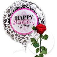 Ballon Happy Birthday Black and White und haltbare Rose