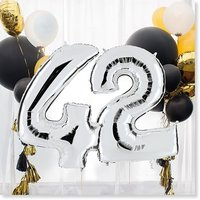Riesenballon-Set Wunsch-Ziffern silber