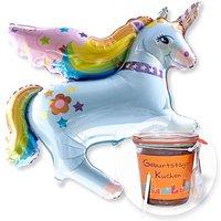 Ballon Rainbow-Einhorn und Kuchen im Glas Geburtstag