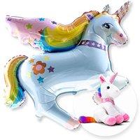 Ballon Rainbow-Einhorn und magisches Plüsch-Einhorn