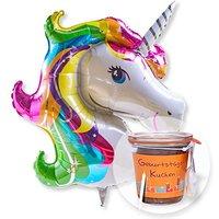 Riesenballon Einhorn Glitter und Kuchen im Glas Geburtstag