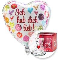 Ballon Ich hab dich lieb! und Glasbär mit Herz