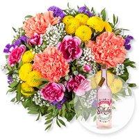Lieber Gruß und Pinke Glasflasche Happy Birthday mit LED