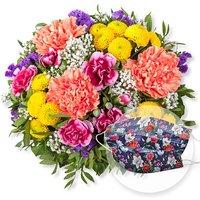 Lieber Gruß und Mund-Nasen-Schutz Chrysantheme