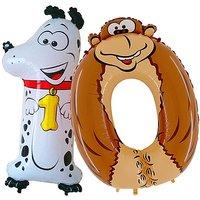 Tierische Zahlen-Ballons 10 Dalmatiner und Affe