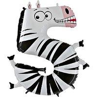 Tierischer Zahlen-Ballon 5 Zebra