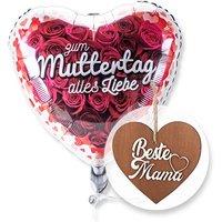 Ballon Zum Muttertag alles Liebe und 3D-Holz-Herz Beste Mama