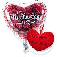 Ballon Zum Muttertag alles Liebe und Kuschel-Herz Beste Mama der Welt!