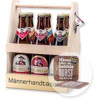 Bierträger Männerhandtasche inklusive Sixpack Bier und Bierdeckel