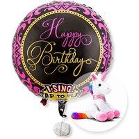 Singender Ballon Happy Birthday Glamour und Plüsch-Einhorn