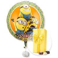 Singender Ballon Geburtstagsgrüße lachende Minions und Belgische Pralinen