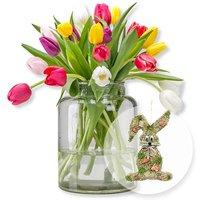 20 bunte Tulpen und Türhänger Honey Bunny