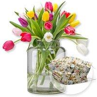 20 bunte Tulpen und Mund-Nasen-Schutz Eisvogel