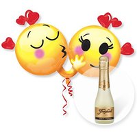 Riesenballon Emojis in Love und Freixenet Semi Seco