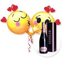 Riesenballon Emojis in Love und Kessler Rose Sekt