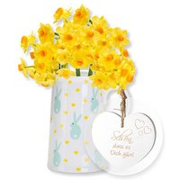 5 gelbe Tazetten mit Oster-Kännchen und Vintage-Herz Schön, dass es Dich gibt!