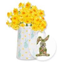 5 gelbe Tazetten mit Oster-Kännchen und Türhänger Honey Bunny