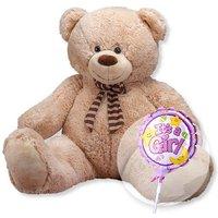 XXL-Teddybär (150cm) und Miniballon Babygirl