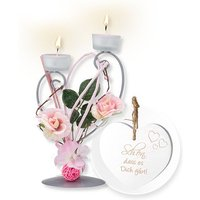 Teelichthalter mit rosafarbener Blumen-Deko und Vintage-Herz Schön, dass es Dich gibt!
