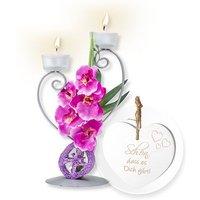 Teelichthalter mit lilafarbener Blumen-Deko und Vintage-Herz Schön, dass es Dich gibt!