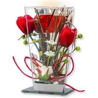 Glas-Spiegel-Windlicht mit roter Blumen-Deko und LED