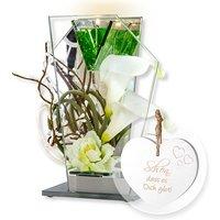 Glas-Spiegel-Windlicht mit Blumen-Deko und LED und Vintage-Herz Schön, dass es Dich gibt!