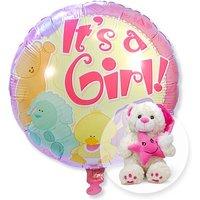 Ballon Babygirl und Plüsch-Bär Schlafmütze rosa