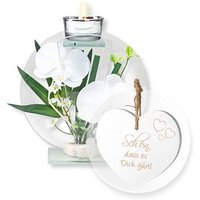 Rundes Glas-Windlicht mit weißer Orchideen-Deko und Vintage-Herz Schön, dass es Dich gibt!