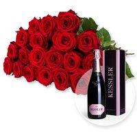20 langstielige rote Premium-Rosen und Kessler Rose Sekt