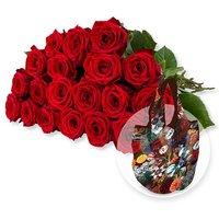 20 langstielige rote Premium-Rosen und Easy Bag Fashion Tulpen