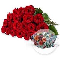 20 langstielige rote Premium-Rosen und Mund-Nasen-Schutz Dahlien