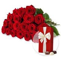 20 langstielige rote Premium-Rosen und Belgische Pralinen