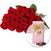 12 langstielige rote Premium-Rosen und Belgische Pralinen-Auslese