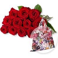 12 langstielige rote Premium-Rosen und Easy Bag XL Blumengruß