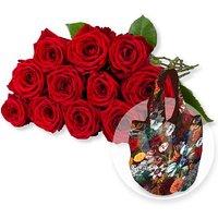 12 langstielige rote Premium-Rosen und Easy Bag Fashion Tulpen