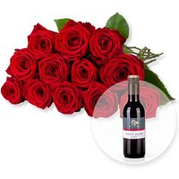12 langstielige rote Premium-Rosen und Pinot Noir