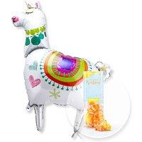 Riesenballon Lama und Fruchtgummi Happy Birthday